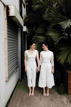 Gorgeous real brides rocking this look 💜💜 I hope this bridal separates and jumpsuit trend never ends 😍😍 Jumpsuit Casual Wedding Suit, Wedding Suits, Wedding Attire, Wedding Bride, Wedding Dresses, Wedding Vans, Rustic Wedding, Elopement Dress, Wedding Jumpsuit