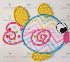 Kissy Fish Embroidered Applique  Iron On or by BigBlackDogDesigns