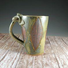 Large Beer Tankard  - Pottery Beer Stein - Ceramic Mug - Rustic Green - Frog Handle - 28 oz - 609