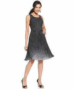 Charter Club Sleeveless Polka-Dot Belted A-Line Flared Dress