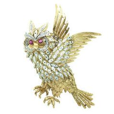 1960s Italian Enamel Ruby Diamond Gold Animalier Brooch
