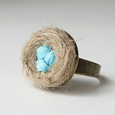 Bird's Nest Silk Ribbon Embroidery Ring by bstudio on Etsy