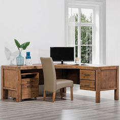 The Silverwood Corner Desk ($899) is a big and beautiful office solution with all the style and space for you to spread out and make work a little less of a chore FT: Silverwood Dining Chair $149 Silverwood Filing Cabinet $349.95