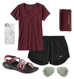 """leaving for summer camp."" by maciemccoy ❤ liked on Polyvore featuring NIKE, Chaco, Ray-Ban, Patagonia, MICHAEL Michael Kors, Uncommon, women's clothing, women's fashion, women and female"