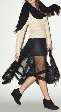 Tiered Lace Midi Skirt in Black