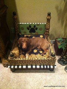 Lucy Designs: Dog Bed from an End Table - Leopard Print for Bruce
