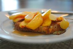 French toast with peachesand maple syrup. Yum!