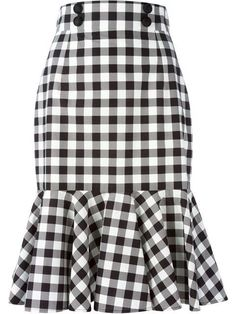 Black and white cotton check ruffle skirt from Dolce & Gabbana featuring a high waist, a front button fastening, a rear zip fastening and a ruffled hem. by farfetch African Fashion Dresses, African Dress, Ruffle Skirt, Dress Skirt, Frilly Skirt, Pleated Skirts, Cotton Skirt, Sheath Dress, Waist Skirt