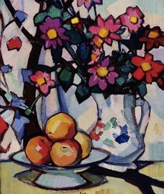 Samuel John Peploe - Still life of dahlias and fruit