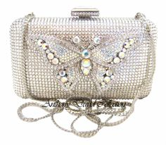 Silver Butterfly Clear and Aurora Borealis Swarovski Crystal Clutch Purse