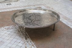 Silver tea tray with legs