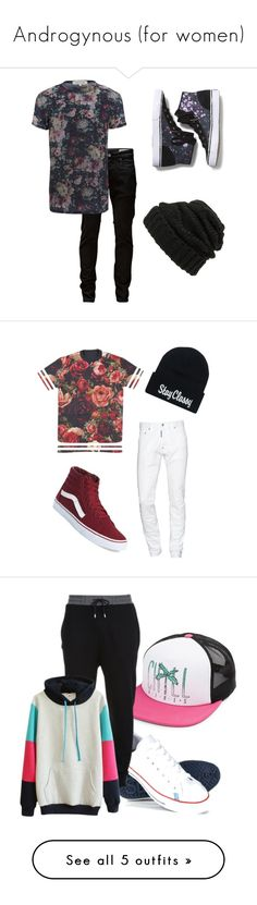 """Androgynous (for women)"" by nevada-feasby ❤ liked on Polyvore featuring Leith, Jack & Jones, River Island, Keds, vintage, Vans, Dsquared2, Volcom, Superdry and McQ by Alexander McQueen"
