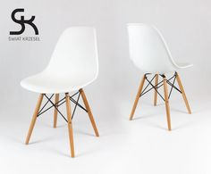 SK DESIGN WHITE CHAIR BEECH - A chair characterised by modern and universal design, made of high quality polypropylene, thanks to which it is resistant to scratching. The chair has very durable wooden / chrome / wenge legs. Dsw Eames, Conference Room, Chrome, New Homes, Colours, Living Room, Chair, Interior, House
