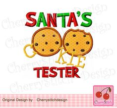 SANTA'S COOKIE TESTERChristmas Embroidery by CherryStitchDesign