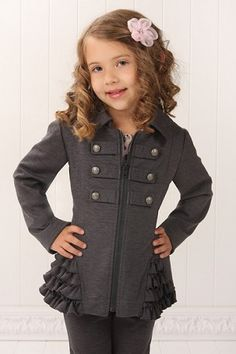 Kate Mack Gray Ruffled Jacket -- Military detail on front and ruffled hip panel. Little Girl Outfits, Little Girl Fashion, Baby Outfits, Toddler Outfits, Kids Outfits, Kids Fashion, Cute Outfits, Fashion Hats, Little Fashionista