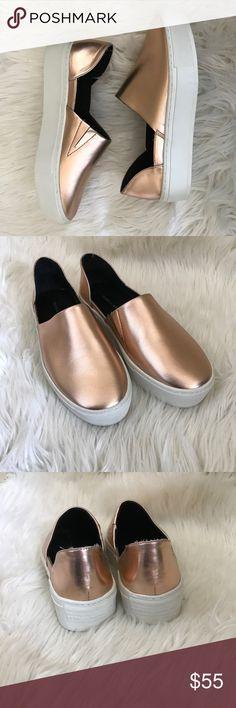 Rose gold Rebecca minkoff slip on sneakers NWOB slip on sneakers in a metallic rose gold color. Rebecca Minkoff Shoes Sneakers