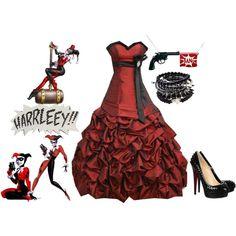 Love this dress Joker And Harley Quinn, Harley Quinn Cosplay, Batman Wedding, Prom Dresses, Wedding Dresses, Gothic Wedding, Gotham, Gothic Fashion, Wedding Themes