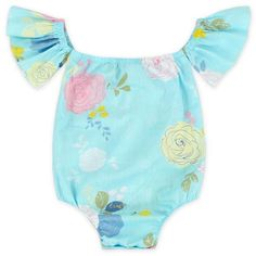 31d7b7c641b2 Fun and Trendy off the shoulder romper made of soft cotton. Snaps on bottom  for