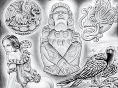 We team up with tattoo artist Enrique Castillo from Dallas, Texas, who has been tattooing for 10 years. Check out his art here at Lowrider Arte Magazine. Aztec Art, Mexican Art Tattoos, Lowrider Art, Drawings, Tattoo Art Drawings, Art, Mayan Art, Mexican Art, Tattoo Artists