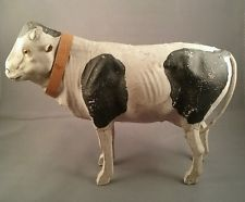 Antique large black and white cow for putz christmas