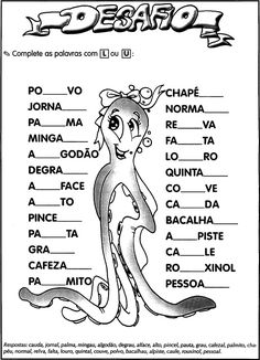 Atividades Ortografia do L ou U: Complete as palavras.