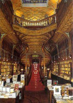 Most glamorous bookstore in the world, in Oporto, Portugal: Libraria Lello (Porto, Portugal, Lello Bookshop) Livraria Lello Porto, Beautiful Library, Dream Library, World Of Books, World's Most Beautiful, Beautiful Places, Book Nooks, Reading Nooks, Wonders Of The World