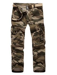 Camouflage Pattern Natural Waist Cargo Pants for Men