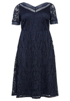 Abendkleid aus floraler Spitze - marine | sheego Short Sleeve Dresses, Dresses With Sleeves, Fashion, Lace, Gown Dress, Gowns, Blue, Moda