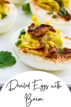 Who can resist a creamy easy deviled egg topped with crispy bacon? Filled with flavor and an easy fix, these keto deviled eggs are so good you'll go back for thirds! Check out this easy deviled egg recipe now! Low Carb Appetizers, Appetizer Recipes, Snack Recipes, Sugar Free Recipes, Egg Recipes, Ground Beef Keto Recipes, Bacon Deviled Eggs, Stroganoff Recipe, Party Food And Drinks
