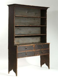 "Exceptional 18th century setback cupboard, open top w/ four drawers on high cut ends, old paint, 84""H x 56""W x 17""D"