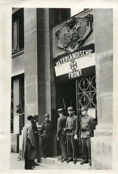 Members of the Heimwehr guarding the entrance to the headquarters of the Fatherland Front, organization formed by Chancellor Dollfuss before his assissination. Photo Search, Press Photo, World War Two, Wwii, Entrance, Organization, World, Weimar, Organisation