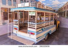 "Phuket, Thailand - March 26, 2016: Blue local bus in Phuket called "" Pho Thong"" , Thailand demonstrated at Phuket Mine Museum - stock photo"