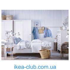 ИКЕА (IKEA) CLUB | | 502.512.70, ХЕМНЭС, Гардероб с 2 раздвижными дверцами, белая морилка, 120x197 см