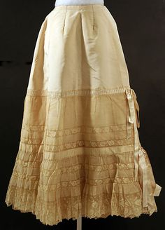 Late 19th c. silk and lace petticoat, French. The Met 37.144.32.