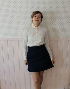 Peach collar blouse and a-line skirt