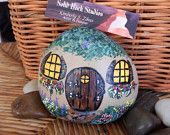 Painted Rock, Fairy Cottage, Garden Cottage,Lil Gnome Home, Hand painted Original Signed Piece,Great Standing rock with viewing angle