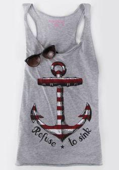 Casual Scoop Neck Anchor Print Tank Top For Women Vests & Tank Tops | RoseGal.com Mobile