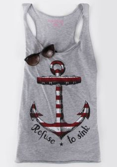 Casual Scoop Neck Anchor Print Tank Top For Women