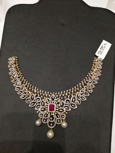 Contact 9000003918 for details Real Diamond Necklace, Diamond Jewellery, Diamond Mangalsutra, Stone Necklace, Gold Earrings Designs, Necklace Designs, Gold Designs, Indian Jewelry Sets, Wedding Jewelry