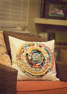 Cool Crafts  You Can Make With Fabric Scraps - Fabric Scrap Rosette Pillow - Creative DIY Sewing Projects and Things to Do With Leftover Fabric and Even Old Clothes That Are Too Small - Ideas, Tutorials and Patterns http://diyjoy.com/diy-crafts-leftover-fabric-scraps