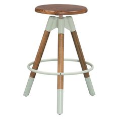 Full of intriguing industrial style, the Adjustable Screw Top Stool will make an exciting addition to your living space. This backless stool features a stylish wood and metal construction, with a seat that can rise and lower to your specifications. Wood Bar Stools, Wood Stool, Home Bar Furniture, Furniture Design, Adjustable Stool, Natural Wood Finish, Walnut Finish, Tripod Lamp, Bars For Home