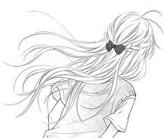 anime, black and white, drawing, manga, manga girl