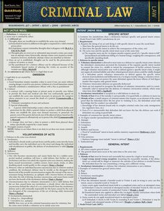 Criminal Law Laminated Study Guide (9781423233084) - BarCharts Publishing Inc makers of QuickStudy