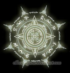 I decided to upload my fanmade magic circles. This is Artemis's magic circle. His magic is lunar-based and is shown through the various Moon symbols in his circle. His power is also enhanced by the. Spell Circle, Chakra Symbole, Magic Circle Crochet, Magic Symbols, Demon Symbols, Viking Symbols, Egyptian Symbols, Viking Runes, Ancient Symbols