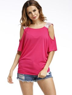 607644fa846 Sequined TShirts Sexy Summer Casual T-shirts Cold Shoulder Women Tops Short  Sleeve Solid Shirts Loose Tee Femme Plus Size