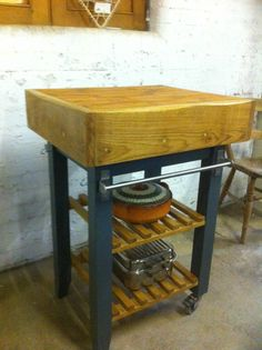 free standing butcher block prep station kitchen island unit with pan/vegi rack