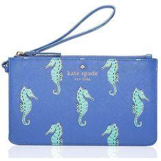 Kate Spade Cedar Street Seahorses Slim Bee (4.395 RUB) ❤ liked on Polyvore featuring bags, handbags, clutches, blue handbags, kate spade wristlet, kate spade purses, kate spade clutches and wristlet purse