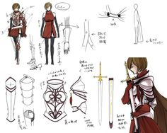 This character sketch skeet is interesting, because it showcases the armor and sword of a female anime/manga warrior character. I especially like the sword design...