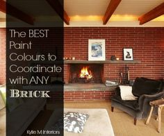 best paint colours to coordinate or match a brick fireplace. Benjamin Moore and Sherwin Williams color ideas