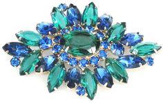 Juliana Beautiful Blue Green Rhinestone Vintage Pin   eBay